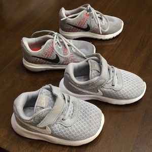 2 pairs of baby boy Nikes size 5